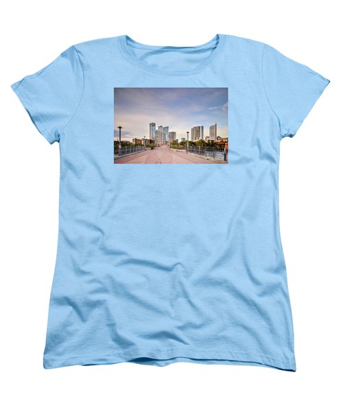 Downtown Austin Skyline From Lamar Street Pedestrian Bridge - Texas Hill Country Women's T-Shirt (Standard Cut) by Silvio Ligutti