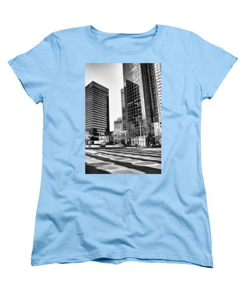 Women's T-Shirt (Standard Cut) featuring the photograph Downtown Bubble Reflections by Darcy Michaelchuk