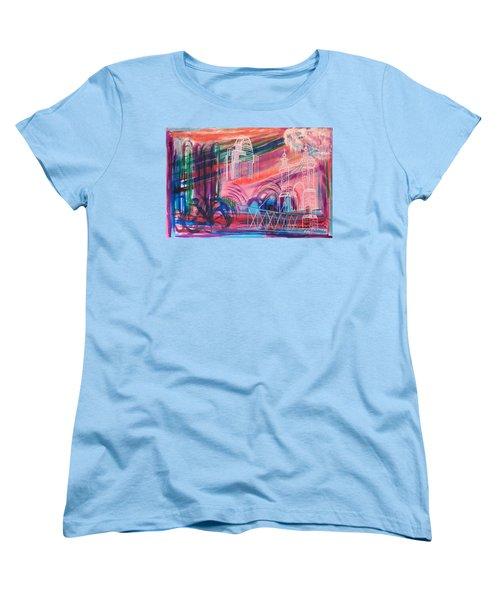 Women's T-Shirt (Standard Cut) featuring the painting Downtown Cincinnati by Diane Pape