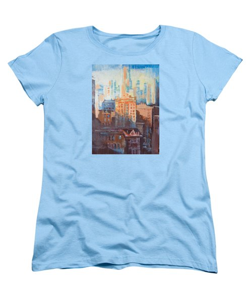 Women's T-Shirt (Standard Cut) featuring the painting Downtown Old And New by John Fish