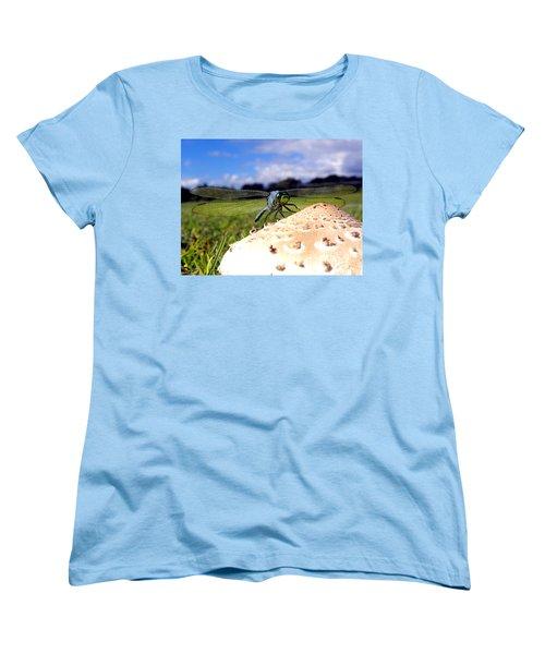 Dragonfly On A Mushroom Women's T-Shirt (Standard Cut) by Chris Mercer