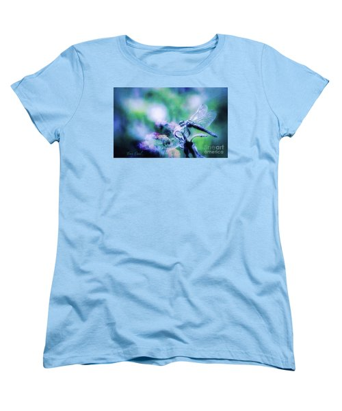 Dragonfly On Lantana-blue Women's T-Shirt (Standard Cut) by Toma Caul
