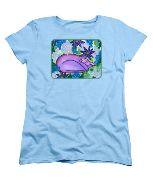 Women's T-Shirt (Standard Cut) featuring the painting Dreaming Sleeping Purple Cat by Carrie Hawks