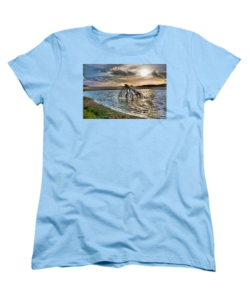 Driftwood In A Tide Pool Outer Banks Ap Women's T-Shirt (Standard Cut) by Dan Carmichael