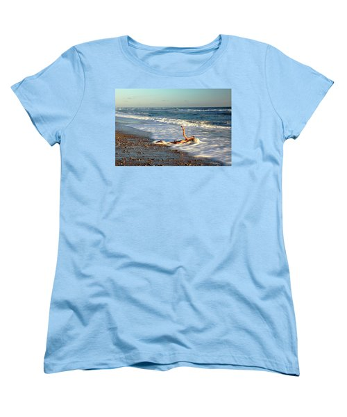 Driftwood In The Surf Women's T-Shirt (Standard Cut) by Roupen  Baker