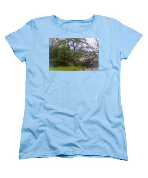 Women's T-Shirt (Standard Cut) featuring the photograph Droplets On Pine Branch by Deborah Smolinske