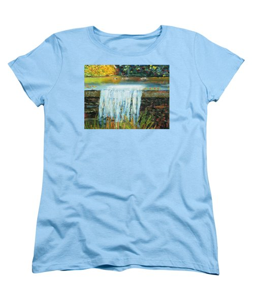 Women's T-Shirt (Standard Cut) featuring the painting Ducks And Waterfall by Michael Daniels