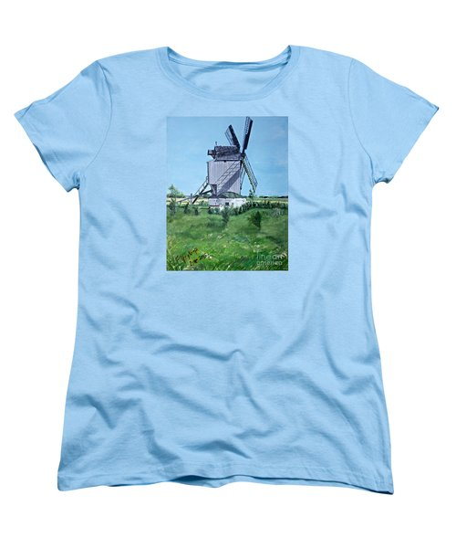 Dunkerque Windmill North Of France Women's T-Shirt (Standard Cut) by Francine Heykoop