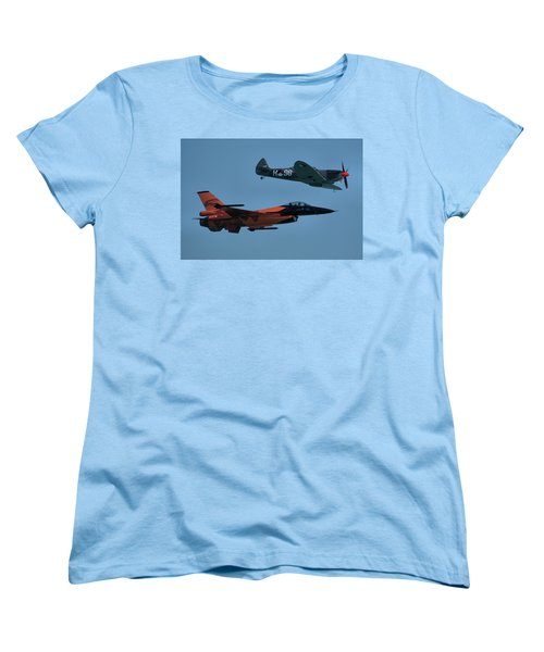 Dutch F-16 And Spitfire Women's T-Shirt (Standard Cut) by Tim Beach