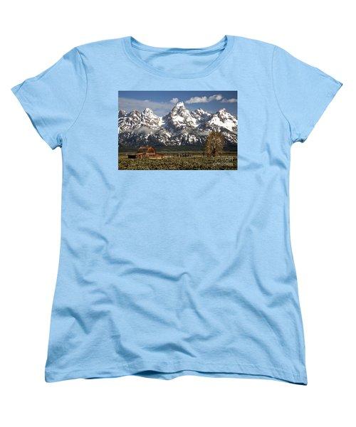 Dwarfed By The Teton Mountain Ange Women's T-Shirt (Standard Cut) by Adam Jewell