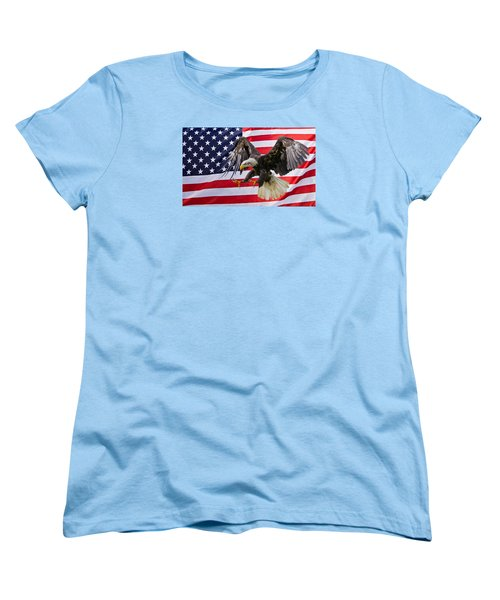 Eagle And Flag Women's T-Shirt (Standard Cut) by Scott Carruthers