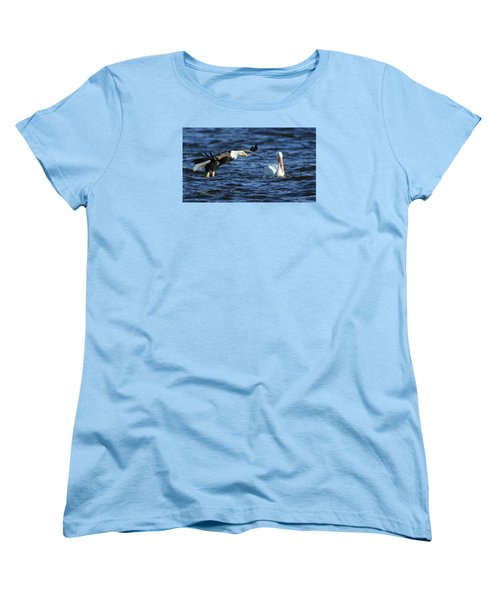 Women's T-Shirt (Standard Cut) featuring the photograph Eagle And Pelican by Coby Cooper
