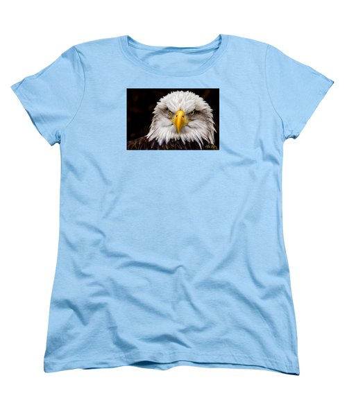 Defiant And Resolute - Bald Eagle Women's T-Shirt (Standard Cut) by Rikk Flohr