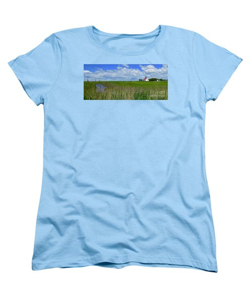 East Point Lighthouse Across The Marsh  Women's T-Shirt (Standard Cut) by Nancy Patterson