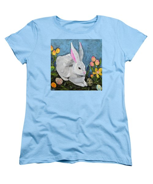 Women's T-Shirt (Standard Cut) featuring the painting Easter Bunny  by Reina Resto