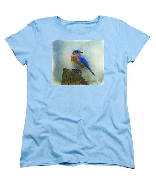 Eastern Bluebird II Women's T-Shirt (Standard Cut) by Sandy Keeton