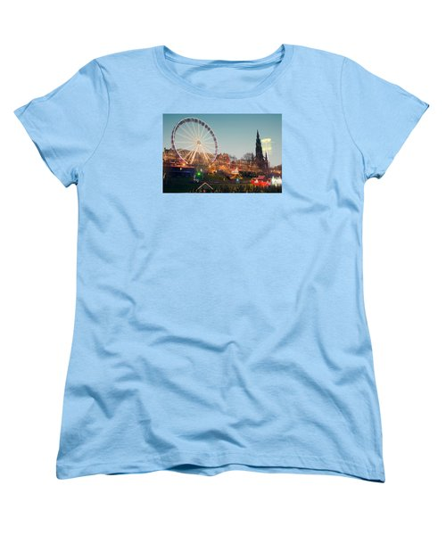 Edinburgh And The Big Wheel Women's T-Shirt (Standard Cut) by Ray Devlin