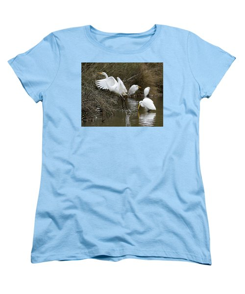 Women's T-Shirt (Standard Cut) featuring the photograph Egret Exit by George Randy Bass