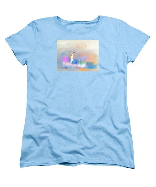 Egret Grace Abstract Women's T-Shirt (Standard Cut) by Frank Bright