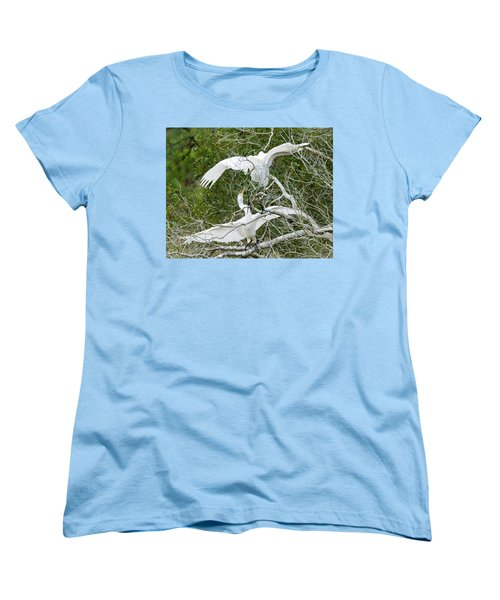 Women's T-Shirt (Standard Cut) featuring the photograph Egret Rumble by George Randy Bass