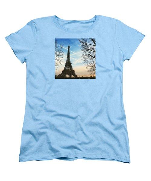 Eiffel Tower And Contrails Women's T-Shirt (Standard Cut) by Aurella FollowMyFrench