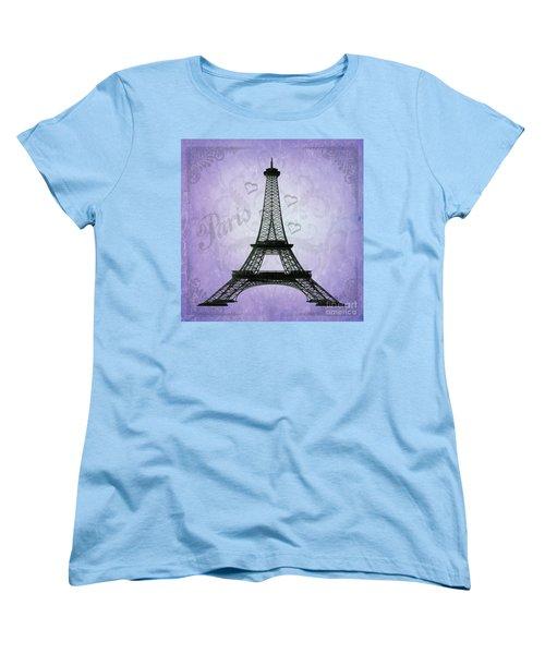 Eiffel Tower Collage Purple Women's T-Shirt (Standard Cut) by Jim and Emily Bush