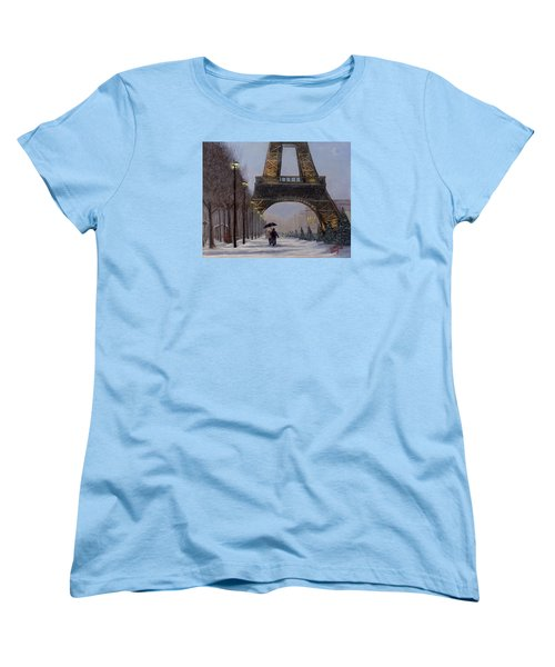 Women's T-Shirt (Standard Cut) featuring the painting Eiffel Tower In The Snow by Dan Wagner