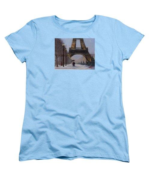 Eiffel Tower In The Snow Women's T-Shirt (Standard Cut) by Dan Wagner