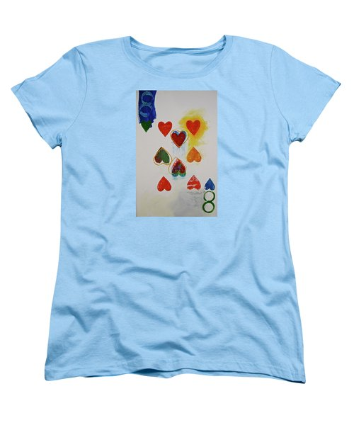 Women's T-Shirt (Standard Cut) featuring the painting Eight Of Hearts 9-52  2nd Series  by Cliff Spohn