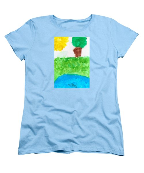 Women's T-Shirt (Standard Cut) featuring the painting El Paisaje by Artists With Autism Inc