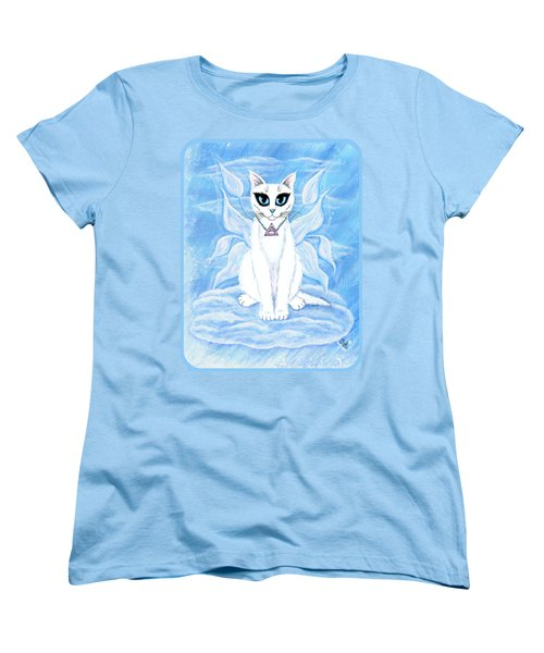 Women's T-Shirt (Standard Cut) featuring the painting Elemental Air Fairy Cat by Carrie Hawks