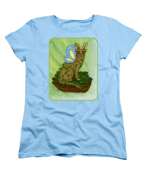 Women's T-Shirt (Standard Cut) featuring the painting Elemental Earth Fairy Cat by Carrie Hawks