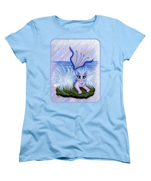 Women's T-Shirt (Standard Cut) featuring the painting Elemental Water Mermaid Cat by Carrie Hawks