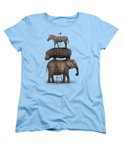 Elephant, Hippo, Zebra Animal Stack With A Cardinal Women's T-Shirt (Standard Cut) by Greg Noblin
