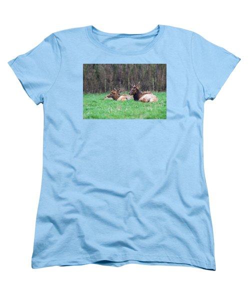 Women's T-Shirt (Standard Cut) featuring the photograph Elk Relaxing by Paul Freidlund