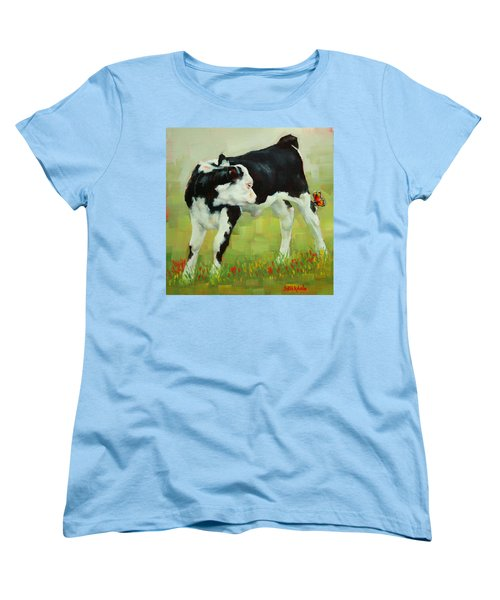 Women's T-Shirt (Standard Cut) featuring the painting Elly The Calf And Friend by Margaret Stockdale