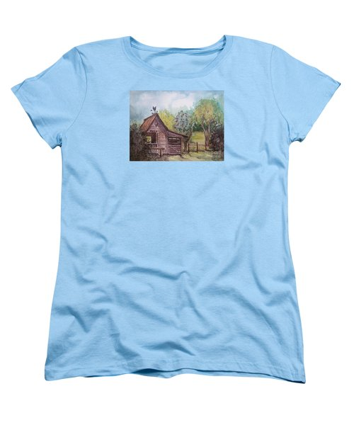 Women's T-Shirt (Standard Cut) featuring the painting Elma's Horse Barn by Gretchen Allen