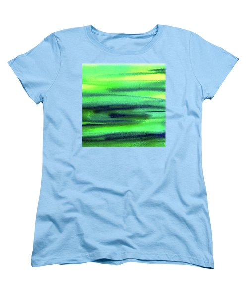 Emerald Flow Abstract Painting Women's T-Shirt (Standard Cut) by Irina Sztukowski