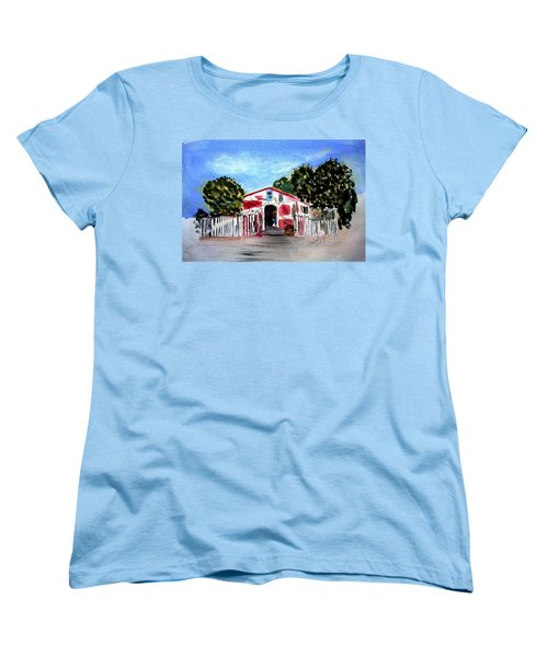 Women's T-Shirt (Standard Cut) featuring the painting Emiles Road Side Grocer by Donna Walsh