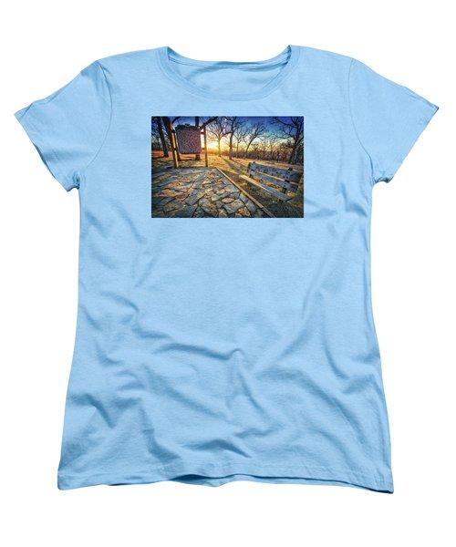 Empty Park Bench - Sunset At Lapham Peak Women's T-Shirt (Standard Cut) by Jennifer Rondinelli Reilly - Fine Art Photography