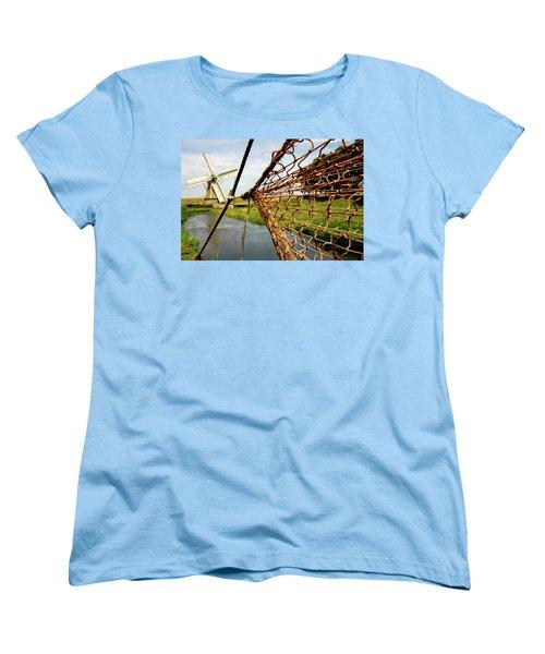 Women's T-Shirt (Standard Cut) featuring the photograph Enkhuizen Windmill And Nets by KG Thienemann