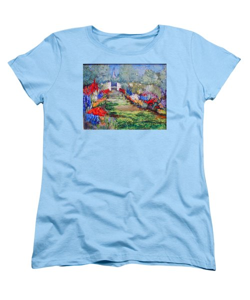 Women's T-Shirt (Standard Cut) featuring the painting Enter His Gates by Gail Kirtz