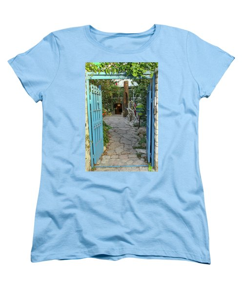 Women's T-Shirt (Standard Cut) featuring the photograph Entrance Door To The Artist by Yoel Koskas