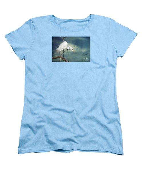 Evangeline Parish Egret Women's T-Shirt (Standard Cut) by Bonnie Barry