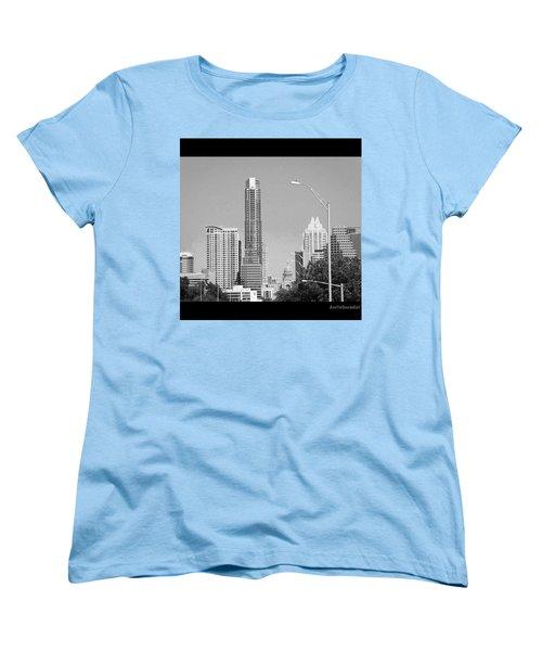 Even In #blackandwhite, The #skyline Of Women's T-Shirt (Standard Cut) by Austin Tuxedo Cat