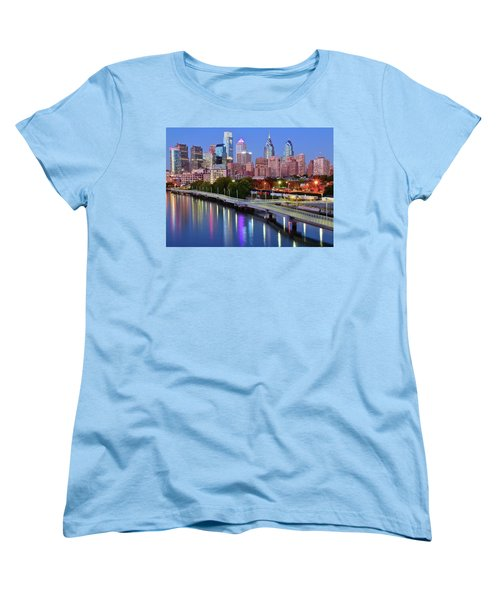Women's T-Shirt (Standard Cut) featuring the photograph Evening Lights On The Delaware by Frozen in Time Fine Art Photography