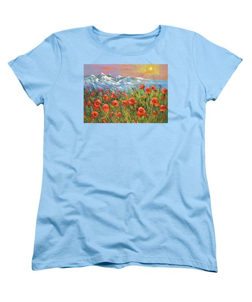 Women's T-Shirt (Standard Cut) featuring the painting Evening Poppies  by Dmitry Spiros