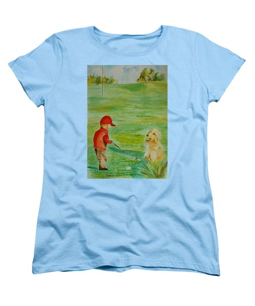 Everything Waits While I Golf Art Women's T-Shirt (Standard Cut) by Geeta Biswas