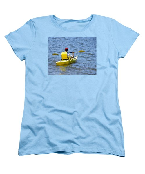 Women's T-Shirt (Standard Cut) featuring the photograph Exploring In A Kayak by Sandi OReilly