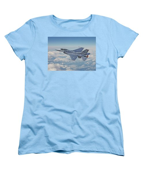 Women's T-Shirt (Standard Cut) featuring the digital art F16 - Fighting Falcon by Pat Speirs